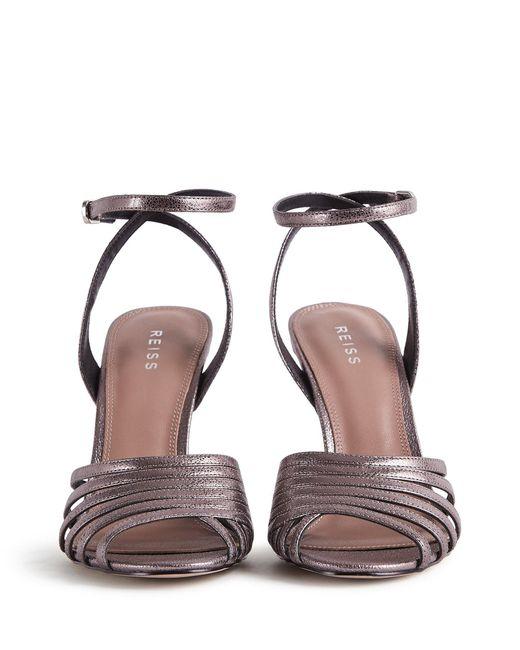 7fceeb27785cc6 ... Reiss - Garbo - Metallic Strappy High Heeled Sandals - Lyst ...