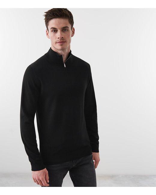 7a98a36f6d7 Lyst - Reiss Blackhall - Merino Wool Zip Neck Jumper in Black for Men