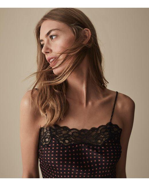 Reiss - Black Elenora - Lace Detail Satin Camisole - Lyst