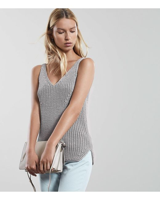 ad2cd68fdd887 Reiss - Gray Gemma - Knitted Vest Top - Lyst ...