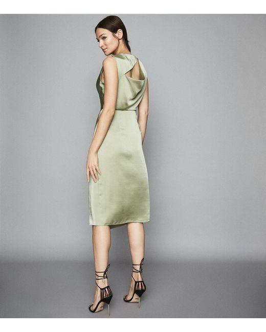 7e29a1576e ... Reiss - Green Julietta - Pleat Detailed Midi Dress - Lyst ...