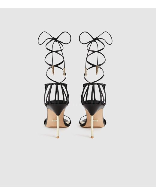 5e90720a37 ... Reiss - Black Zhane - Leather Strappy Wrap Sandals - Lyst ...