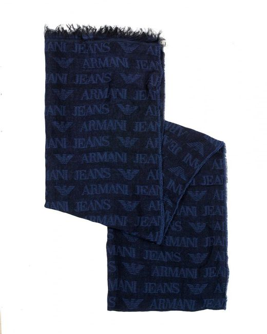 Armani - Navy Blue All Over Logo Lightweight Scarf for Men - Lyst