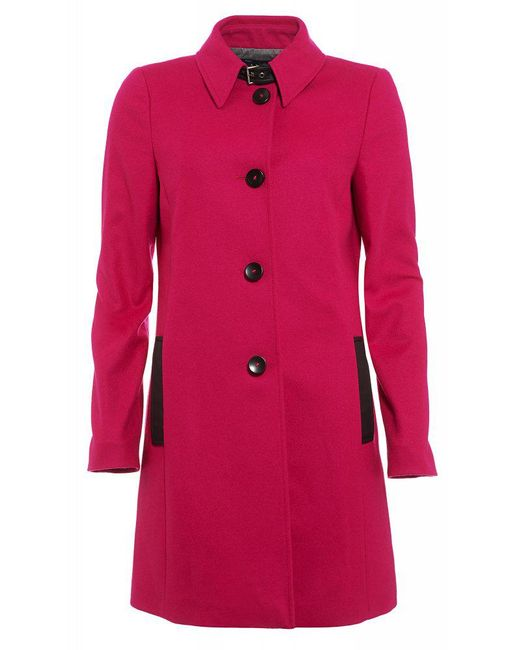 Armani Jeans - Fuchsia Pink Wool Buckle Neck Coat - Lyst