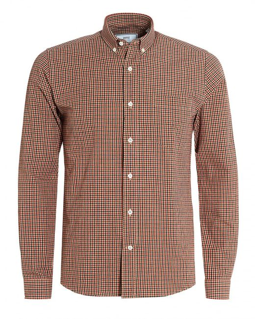 Ami checked oxford button down black red shirt in red for for Black oxford button down shirt