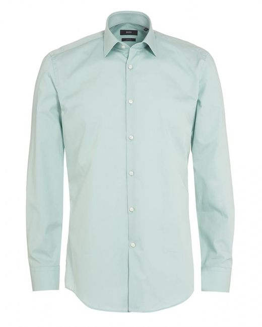 BOSS Black | Jenno Shirt, Mint Green Slim Fit Plain Shirt for Men | Lyst