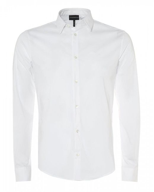 Emporio Armani - Canvas Cotton White Stretch Shirt for Men - Lyst