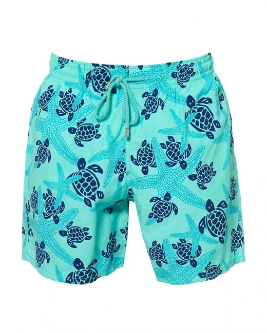 Vilebrequin Moorea Swimshorts, Blue Starfish Print Swimming Trunks for men
