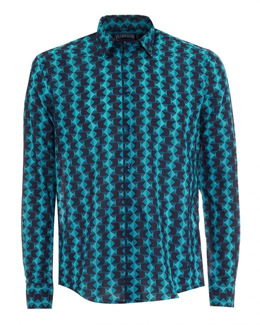 Vilebrequin - Blue Turquoise Geometric Fish Shirt for Men - Lyst