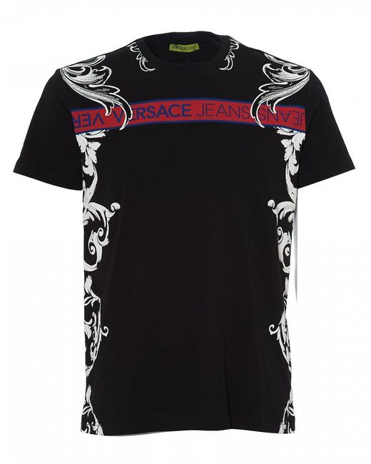 7417151b Lyst - Versace Jeans Baroque Tape T-shirt, Black Tee in Black for Men
