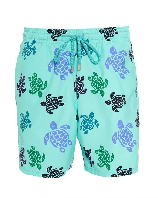 Vilebrequin - Moorea Swim Shorts, Blue Large Turtle Print Swimming Trunks for Men - Lyst