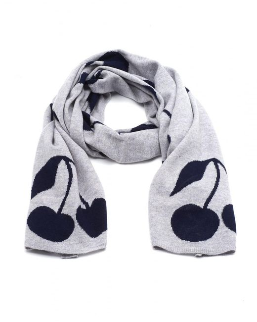 Cocoa Cashmere - Gray All Over Cherry Print Grey Scarf - Lyst