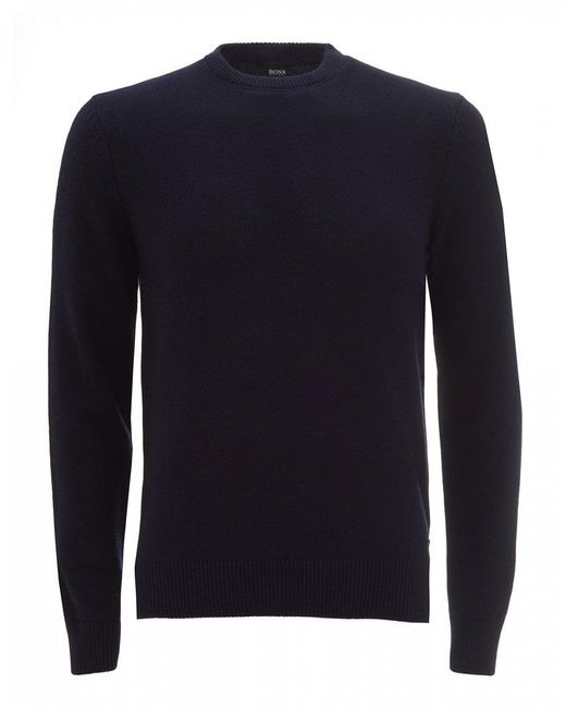 BOSS Ambotrevo Flatlock Jumper, Dark Blue Sweater for men