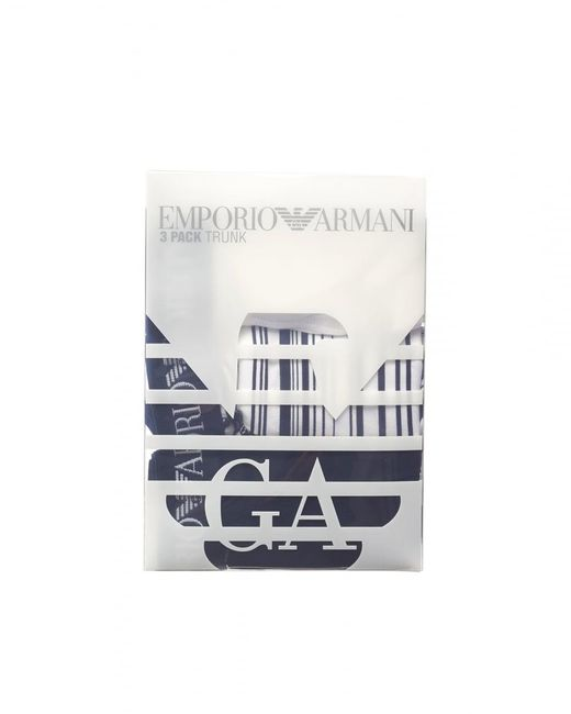 Emporio Armani - Blue Three Pack Boxers, Plain Striped Navy White Trunks for Men - Lyst