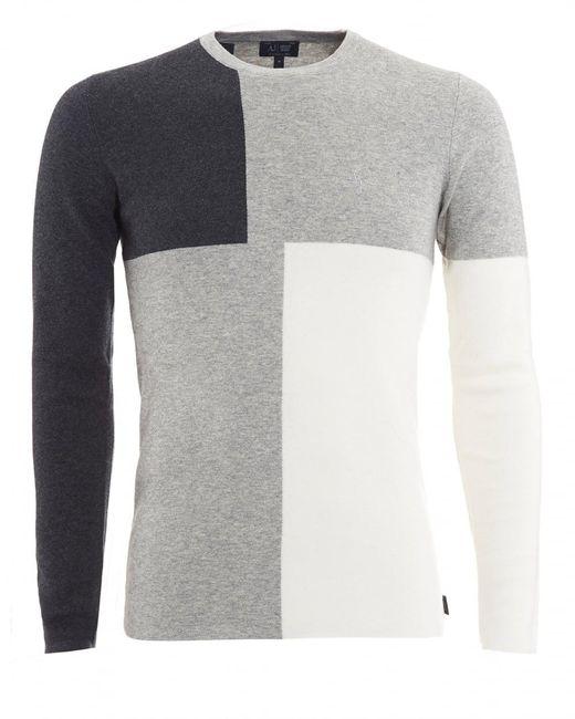 Armani Jeans | Gray Jumper, Black Grey Colour Block Knitwear for Men | Lyst