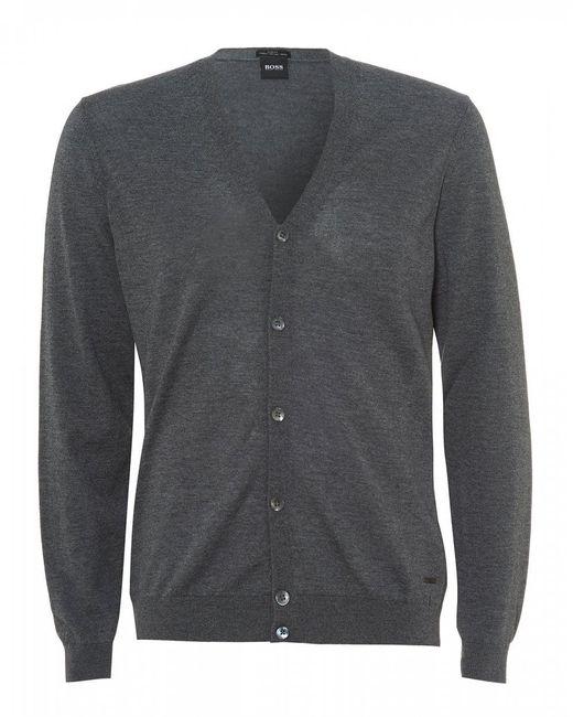 e3003d2c87 BOSS - Gray Mardon V-neck Charcoal Grey Cardigan for Men - Lyst ...