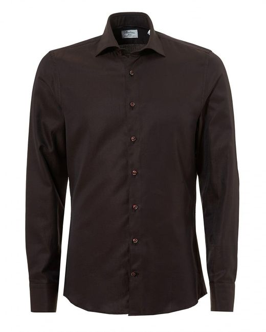 Stenstroms - Pin Dot Slimline Long Sleeve Brown Shirt for Men - Lyst