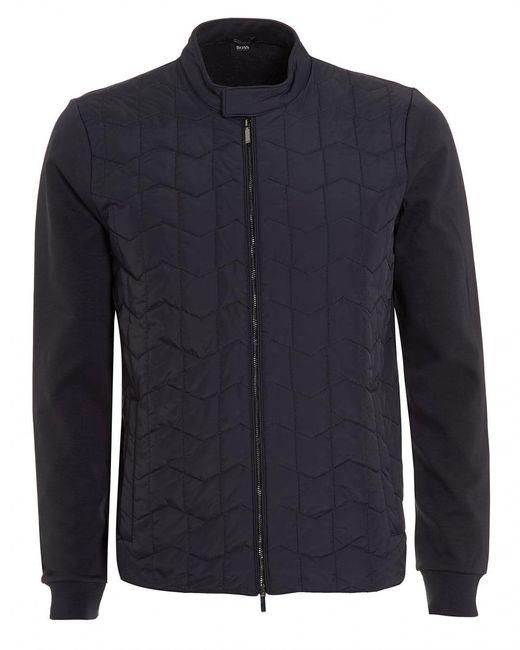 BOSS Black   Shepherd Sweat, Quilted Navy Blue Sweatshirt Jacket for Men   Lyst
