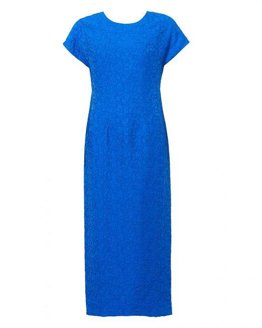 Diane von Furstenberg - Jacquard Crinkle Texture Bright Blue Dress - Lyst