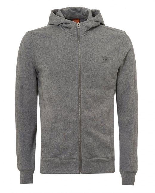 BOSS by Hugo Boss - Gray Ztadium Hoodie, Panel Sides Grey Melange Sweatshirt for Men - Lyst