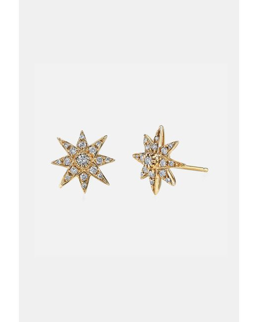 SHAY | Metallic Mini Starburst Studs In Yellow Gold | Lyst