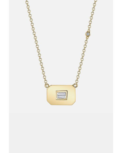 SHAY - Metallic Essential Baguette Diamond Necklace In Yellow Gold - Lyst