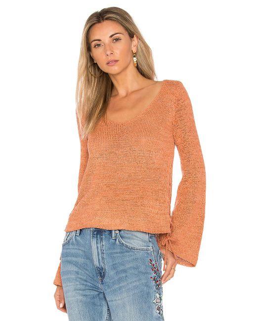 MINKPINK - Orange Beau Lace Side Sweater - Lyst