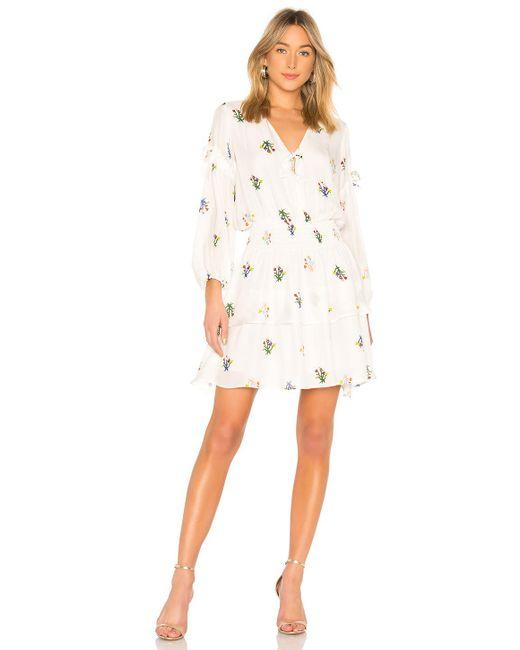 Cynthia Rowley - Celia Smocked Mini Dress In White - Lyst