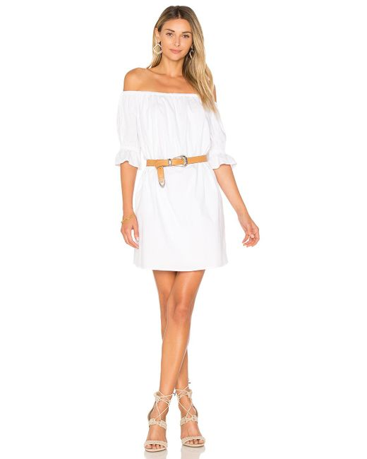 1.STATE   White Off Shoulder Smocked Sleeve Shift Dress   Lyst