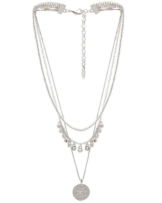 Luv Aj - Noa Coin Charm Necklace In Metallic Silver. - Lyst