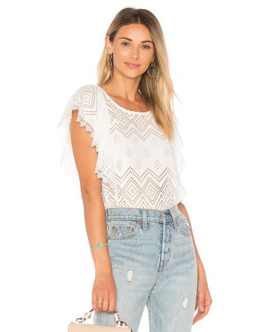 Ella Moss | Natural Pleated Lace Top | Lyst