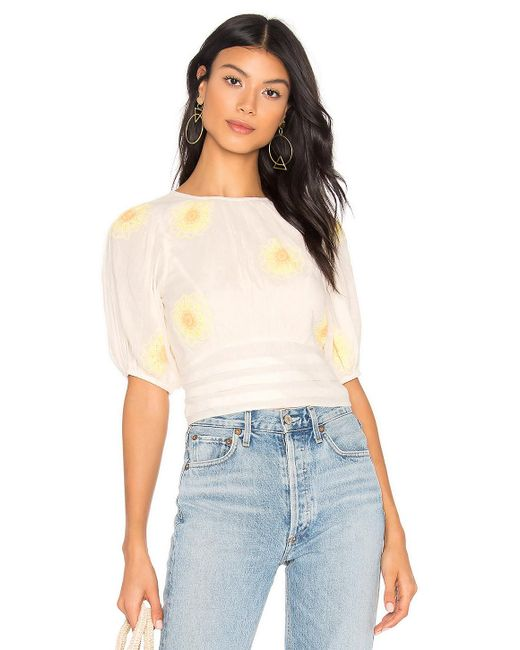 Free People - White My Girl Blouse - Lyst