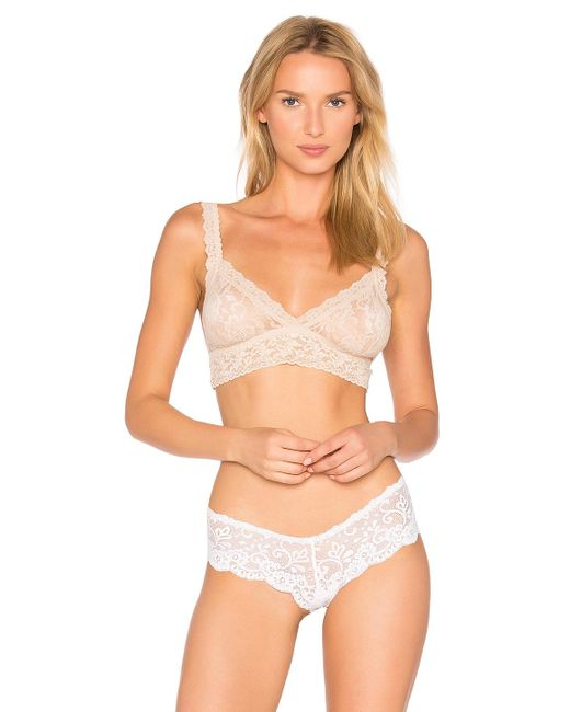 Hanky Panky - Natural Signature Lace Crossover Bralette In Beige - Lyst