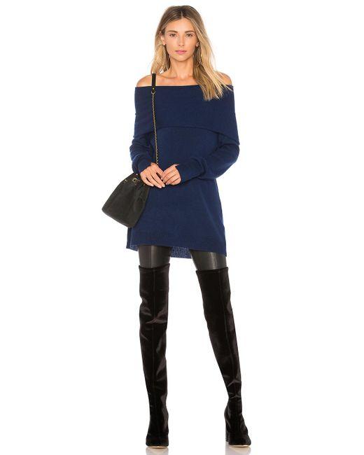 Halston Heritage - Blue Foldover Off Shoulder Sweater - Lyst