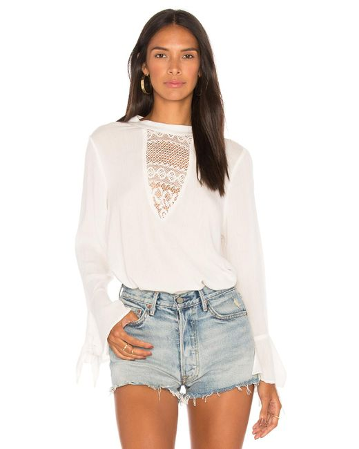 Band Of Gypsies - White Crochet Inset Blouse In Ivory - Lyst