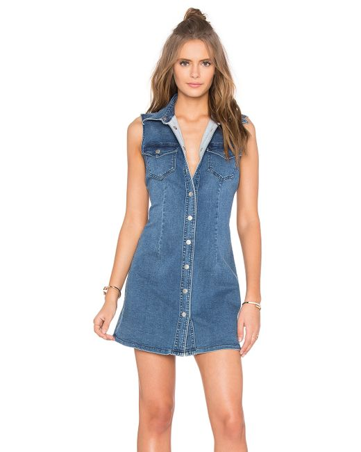 bardot soho denim sleeveless dress in blue lyst
