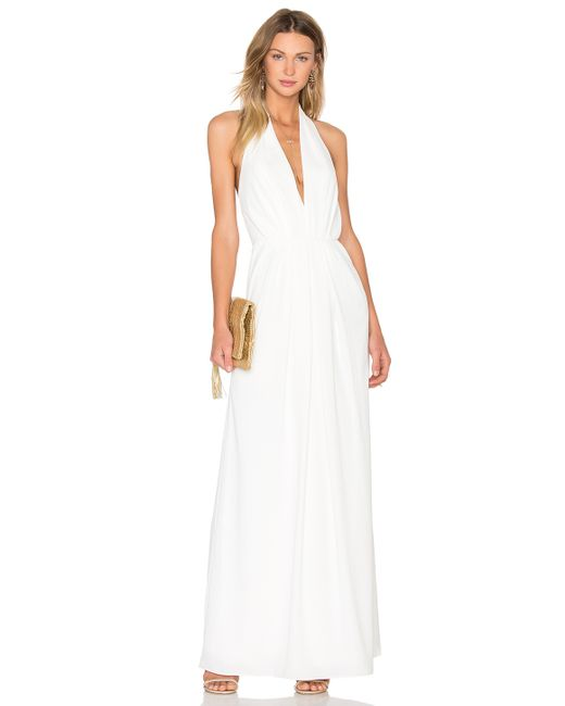 JILL Jill Stuart | White V Neck Pleated Gown | Lyst