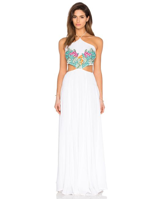 Mara hoffman embroidered halter maxi dress in white leaf