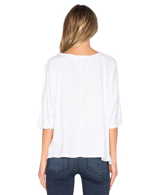 Michael stars gauze mix button tie front top in white lyst for Michael stars t shirts on sale