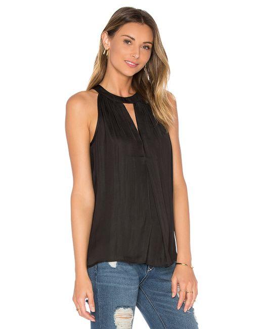 Michael stars keyhole halter tank in black lyst for Michael stars t shirts on sale