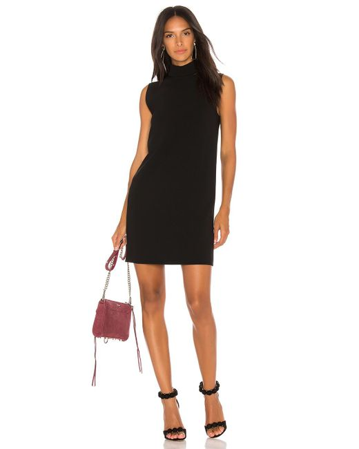 Theory | Black Slit Collar Dress | Lyst