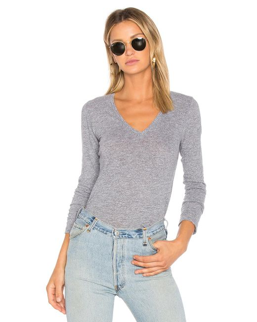 Monrow - Gray Jersey Long Sleeve V Neck Tee - Lyst