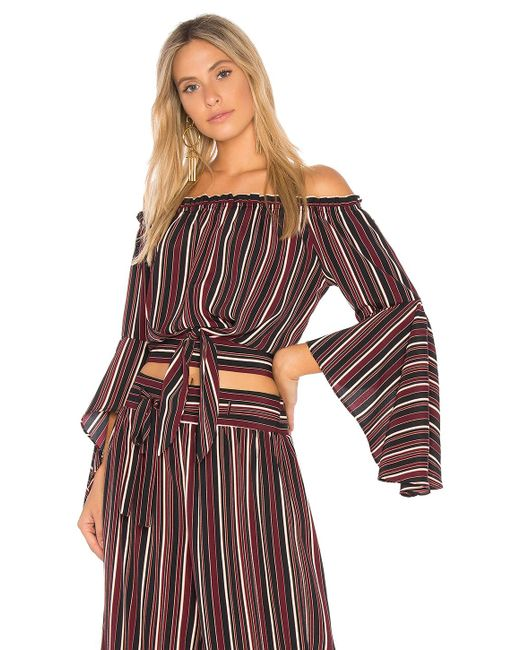 Band Of Gypsies - Multicolor Pinstripe Tie Front Top In Purple - Lyst