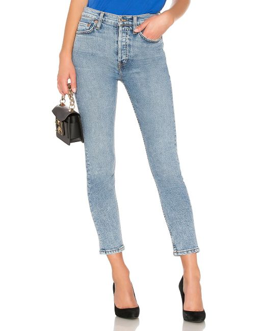 Re/done - Blue Originals High Rise Ankle - Lyst