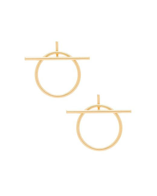 Rebecca Minkoff | Metallic Front Facing Ring And Bar Hoops | Lyst