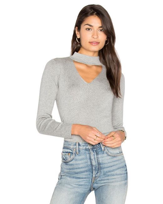 MILLY   Gray Cut Away Collar Sweater   Lyst