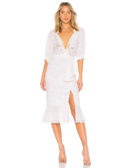 Saloni - Olivia Cotton Dress In White - Lyst