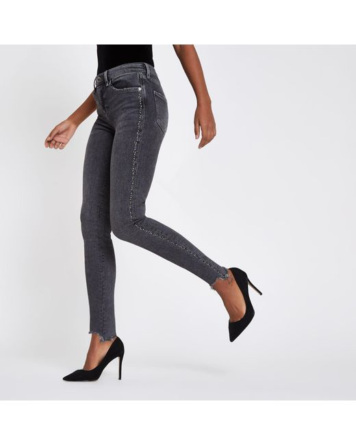River Island - Gray Rl Amelie Super Skinny Jeans - Lyst