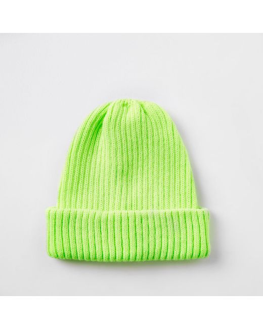 River Island - Green Yellow Fisherman Knit Beanie Hat for Men - Lyst ... e96fa5708f1