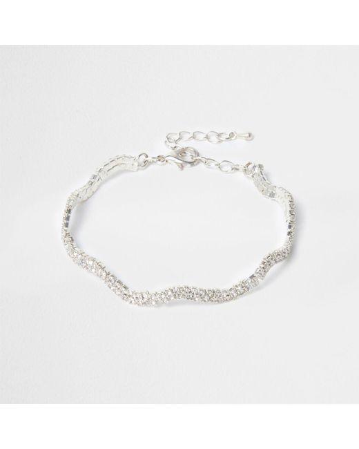 River Island | Metallic Silver Tone Wavy Diamante Encrusted Bracelet | Lyst